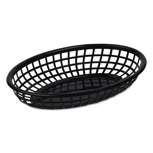 Tatco Food Basket, Black, Plastic, Small, 5 7/8 x 1 5/8