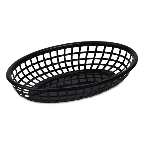 Tatco Food Basket, Black, Plastic, Small, 5 7/8 x 1 5/8