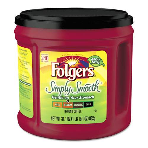 Folgers® Coffee, Simply Smooth, 31.1 oz Canister, 6/Carton