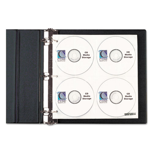 CD/DVD Refillable D-Ring Binder Kit, Holds 80 Discs, Black | by Plexsupply