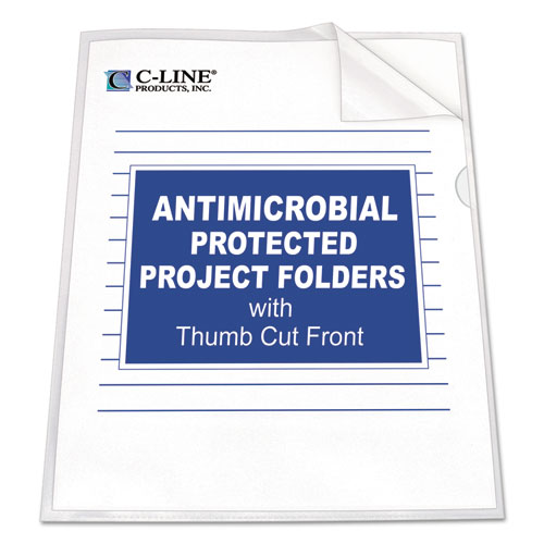 Antimicrobial Protected Poly Project Folders, Letter Size, Clear, 25/Box | by Plexsupply
