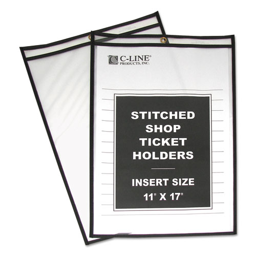 "Shop Ticket Holders, Stitched, Both Sides Clear, 75"", 11 x 17, 25/Box 