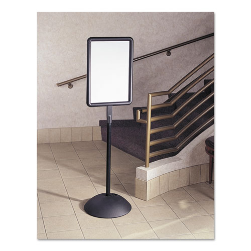 Double Sided Sign, Magnetic/Dry Erase Steel, 18 x 18, White, Black Frame