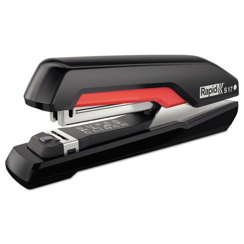 Rapid® Supreme S17 SuperFlatClinch Full Strip Stapler, 30-Sheet Capacity, Black/Red