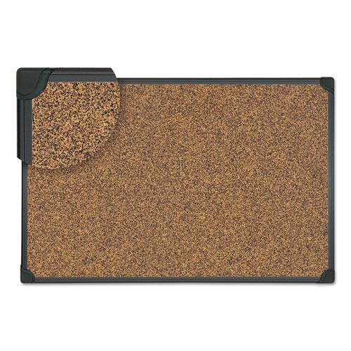 Tech Cork Board, 36 x 24, Cork, Black Plastic Frame