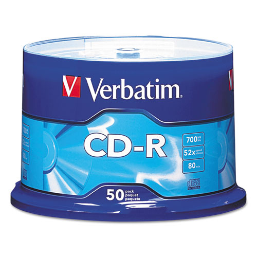 CD-R Discs, 700MB/80min, 52x, Spindle, Silver, 50/Pack | by Plexsupply