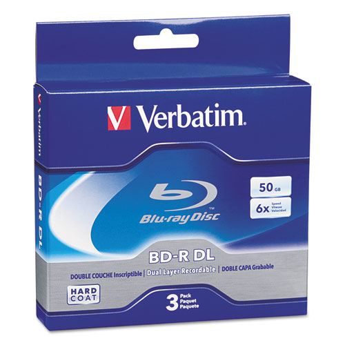 Blu-ray bd-r dual-layer, 50 gb, 3/pk, sold as 1 package