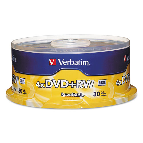 DVD+RW Discs, 4.7GB, 4x, Spindle, 30/Pack | by Plexsupply