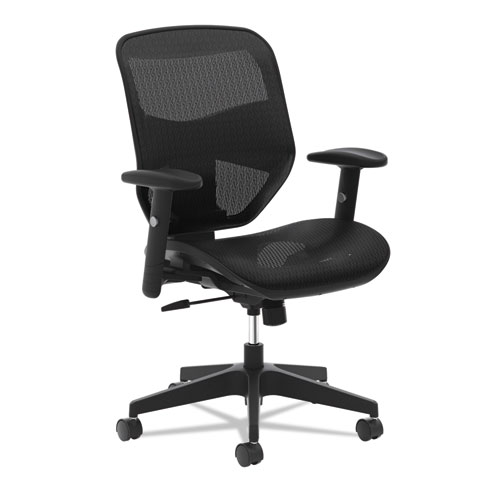 VL534 Mesh High-Back Task Chair, Supports up to 250 lbs., Black Seat/Black Back, Black Base