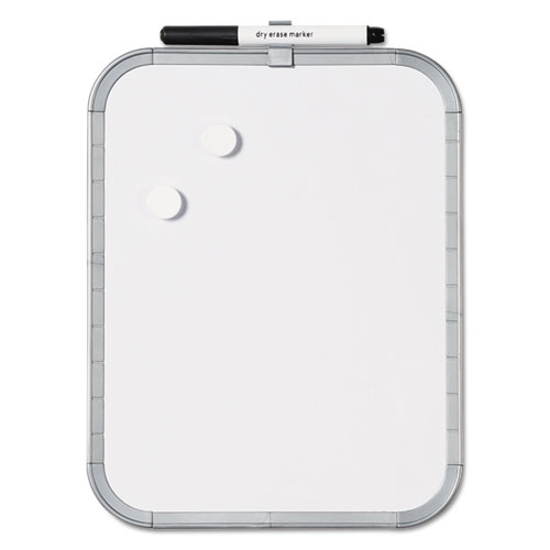 Magnetic Dry Erase Board, 11 x 14, White Plastic Frame   by Plexsupply