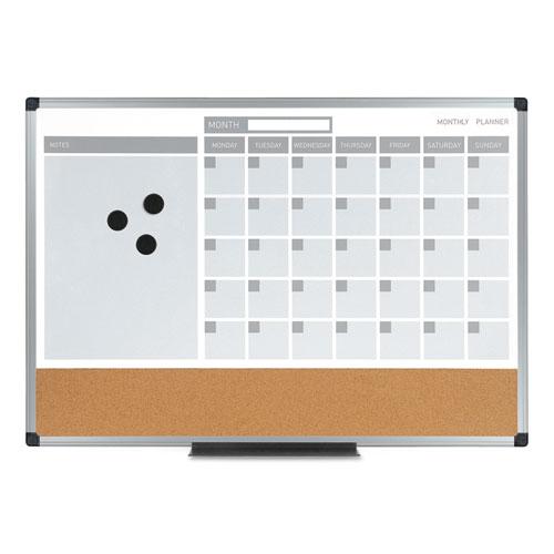 3-in-1 Calendar Planner Dry Erase Board, 36 x 24, Silver Frame   by Plexsupply
