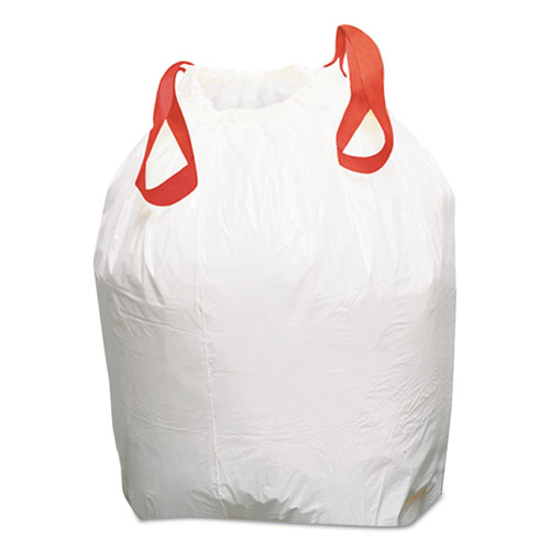 Drawstring Low-Density Can Liners, 13 gal, 0.8 mil, 24.5 x 27.4, White, 100/Carton