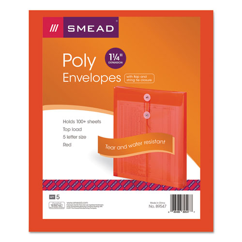 Poly String & Button Interoffice Envelopes, String & Button Closure, 9.75 x 11.63, Transparent Red, 5/Pack | by Plexsupply