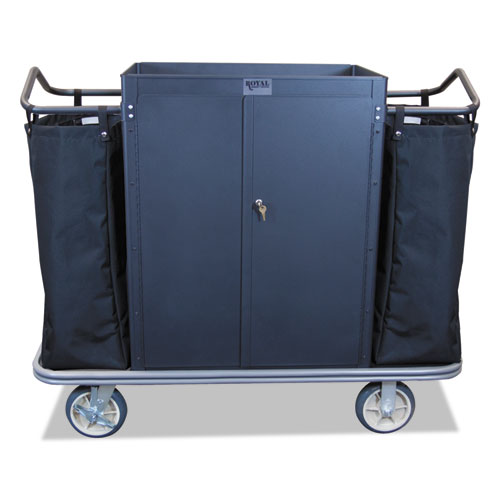 Security Housekeeping Cart, 22 x 55 x 47, 500 lbs. Capacity, Black