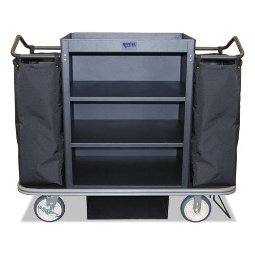 Deluxe Housekeeping Cart, 22 x 55 x 47, 500 lbs. Capacity, Black