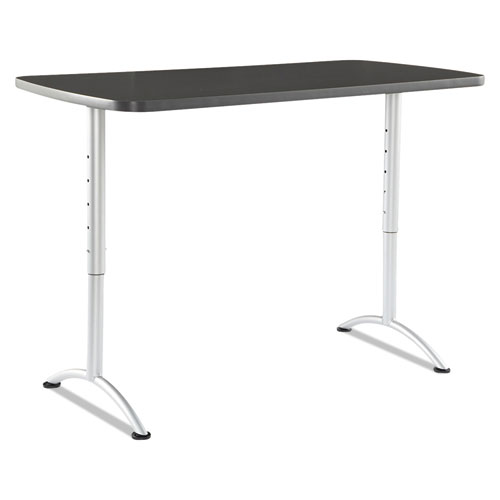 ARC Sit-to-Stand Tables, Rectangular Top, 60w x 30d x 30-42h, Graphite/Silver | by Plexsupply
