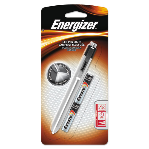 Energizer® LED Pen Light, 2 AAA Batteries (Included), Silver/Black