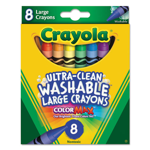 Ultra-Clean Washable Crayons, Large, 8 Colors/Box 523280