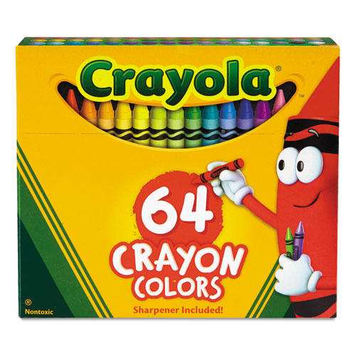 Classic Color Crayons in Flip-Top Pack with Sharpener, 64 Colors