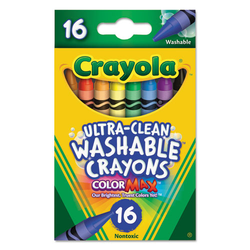 Ultra-Clean Washable Crayons, Regular, 8 Colors, 16/Box 526916