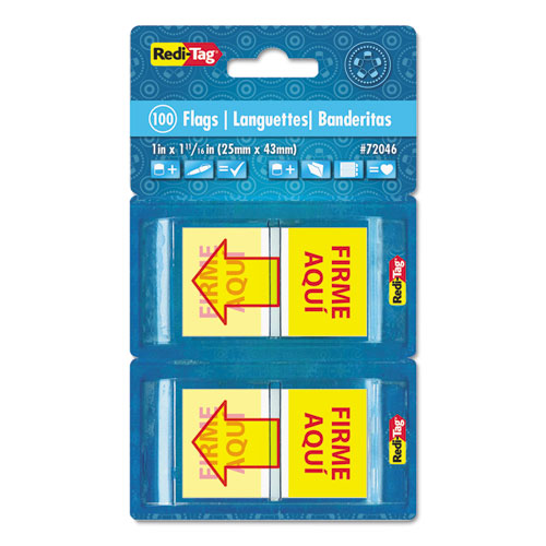 """Spanish Page Flags in Pop-Up Dispenser, """"FIRME AQUl"""", Red/Yellow, 100/Pack 