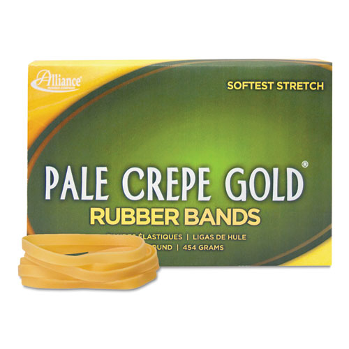 Pale Crepe Gold Rubber Bands, Size 64, 0.04 Gauge, Crepe, 1 lb Box, 490/Box