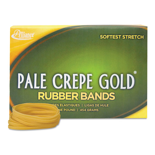 Pale Crepe Gold Rubber Bands, Size 32, 0.04 Gauge, Crepe, 1 lb Box, 1,100/Box
