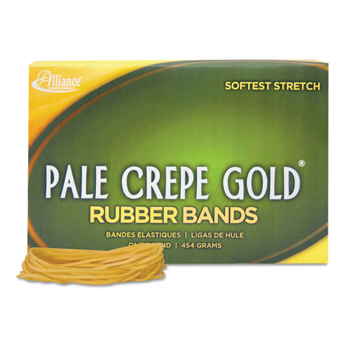 Pale Crepe Gold Rubber Bands, Size 19, 0.04 Gauge, Crepe, 1 lb Box, 1,890/Box
