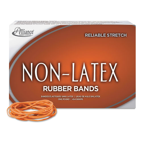 "Non-Latex Rubber Bands, Size 19, 0.04"" Gauge, Orange, 1 lb Box, 1,440/Box 