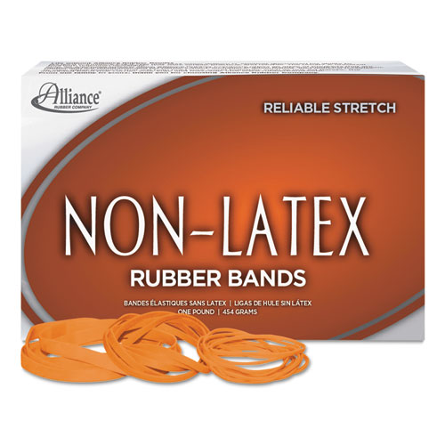 "Non-Latex Rubber Bands, Size 33, 0.04"" Gauge, Orange, 1 lb Box, 720/Box 