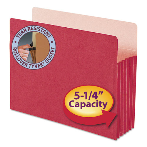 "Colored File Pockets, 5.25"" Expansion, Letter Size, Red 