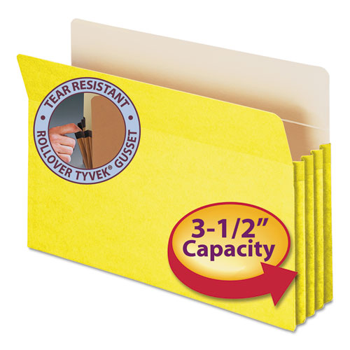 "Colored File Pockets, 3.5"" Expansion, Legal Size, Yellow 