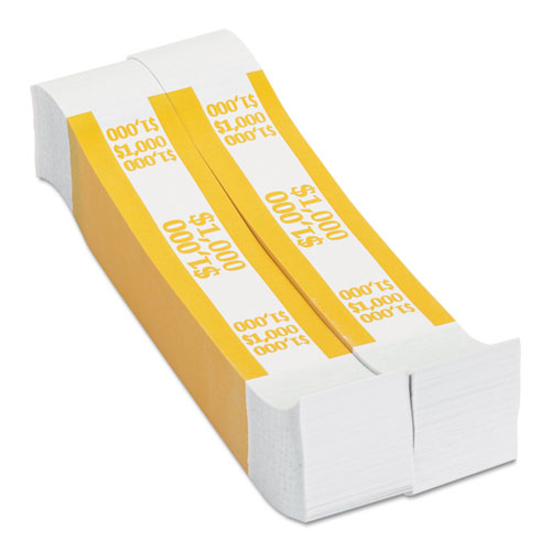 Currency Straps Yellow 1 000 In 10 Bills 1000 BandsPack  CTX401000 on office depot coin wrappers