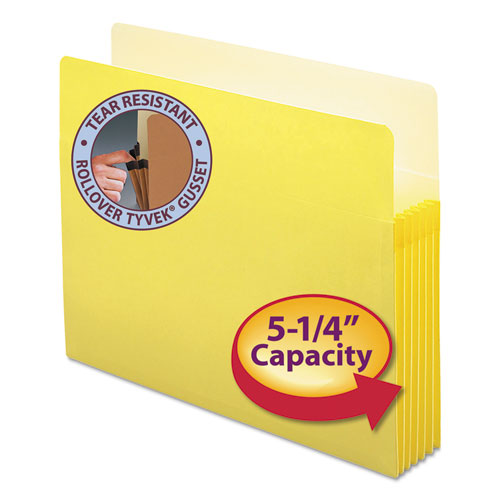 "Colored File Pockets, 5.25"" Expansion, Letter Size, Yellow 