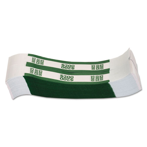 Currency Straps, Green, 200 in Dollar Bills, 1000 Bands/Pack