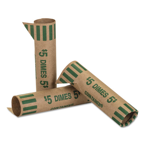 Preformed Tubular Coin Wrappers, Dimes, $5, 1000 Wrappers/Box | by Plexsupply