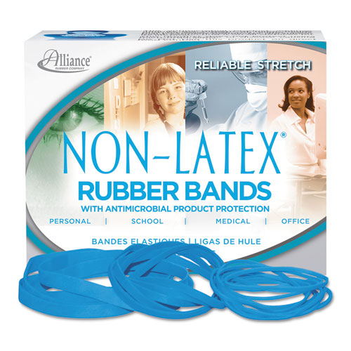"Antimicrobial Non-Latex Rubber Bands, Size 117B, 0.06"" Gauge, Cyan Blue, 4 oz Box, 62/Box 
