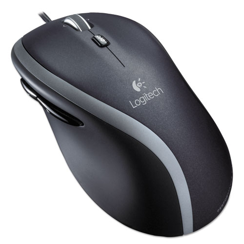 M500 Corded Mouse, USB 2.0, Right Hand Use, Black/Silver | by Plexsupply