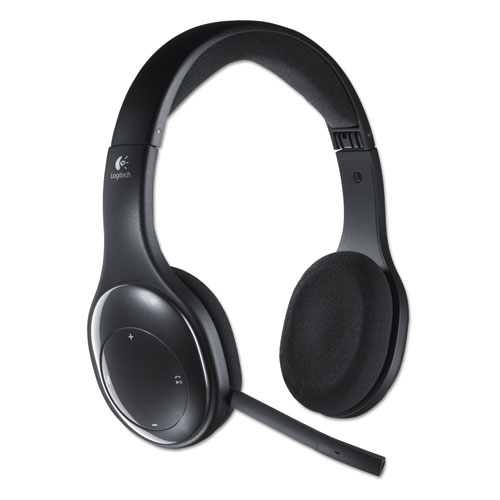 H800 Binaural Over-the-Head Wireless Bluetooth Headset, 4 ft Range, Black   by Plexsupply