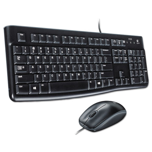 MK120 Wired Keyboard + Mouse Combo, USB 2.0, Black | by Plexsupply