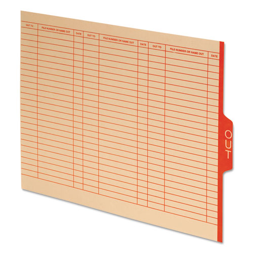 "End Tab Outguides, Red Center ""OUT"" Tab, Manila, Letter, 100/Box 