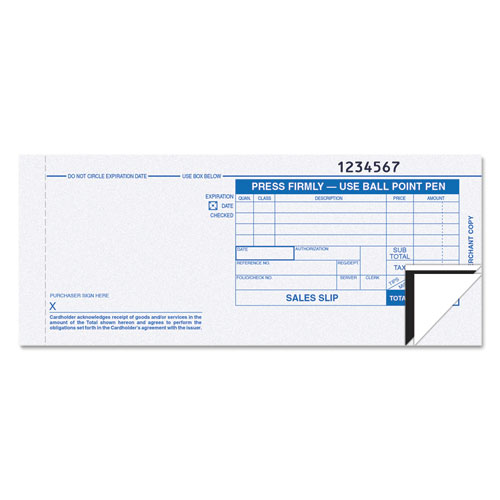 Credit Card Sales Slip, 7 7/8 x 3-1/4, Three-Part Carbonless, 100 Forms | by Plexsupply