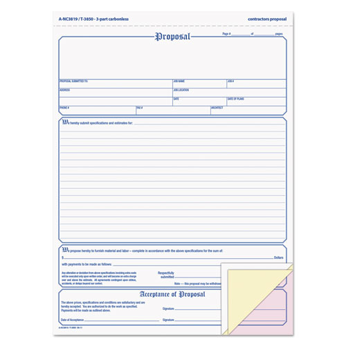 Proposal Form, 8-1/2 x 11, Three-Part Carbonless, 50 Forms | by Plexsupply