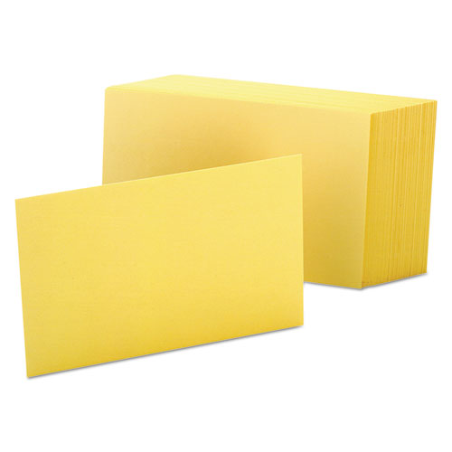 Unruled Index Cards, 4 x 6, Canary, 100/Pack | by Plexsupply