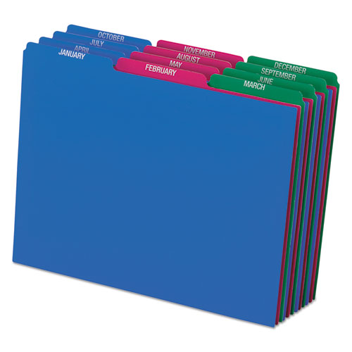 Top Tab File Guides, Monthly/Jan-Dec, 1/3 Tab, Polypropylene, Letter, 12/Set | by Plexsupply