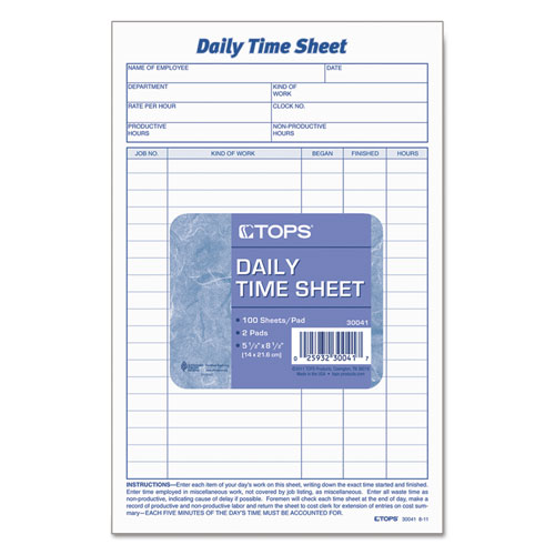 daily time and job sheets 8 1 2 x 5 1 2 200 pad 2 pack