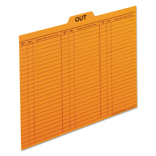 Out/Substitution Guides, 1/5 Top Tab, 11 pt Stock, Letter, Salmon, 100/Box | by Plexsupply