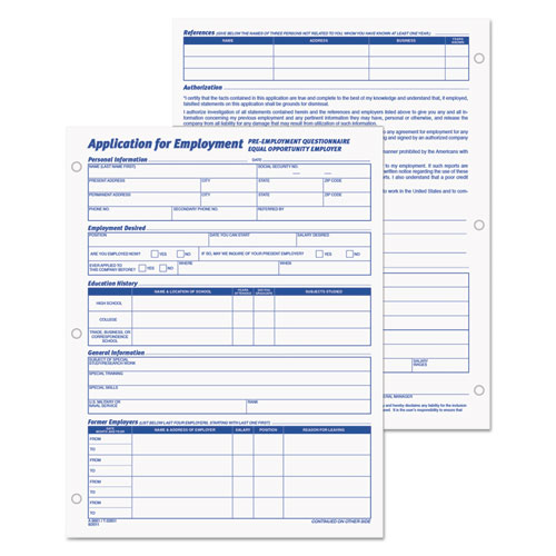 employee application form 8 3 8 x 11 50 pad 2 pack