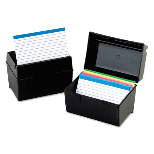 Plastic Index Card File, 400 Capacity, 6 1/2w x 4 7/8d, Black | by Plexsupply
