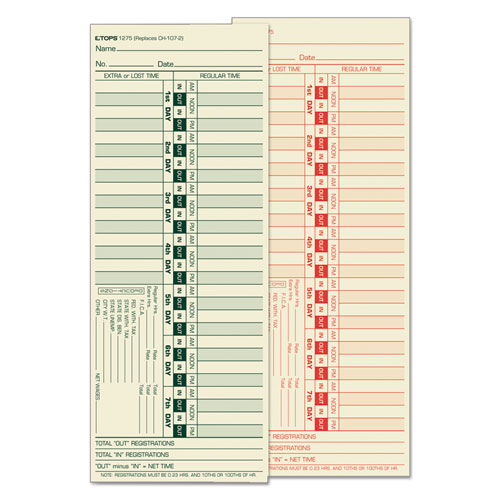 Time Card for Lathem, Bi-Weekly, Two-Sided, 3 1/2 x 9, 500/Box | by Plexsupply